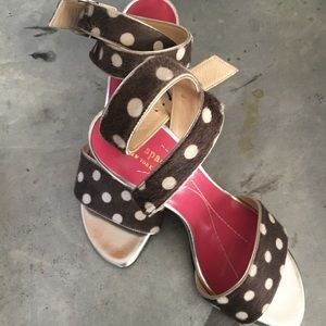 Kate Spade Polka Dot Fur Sandals Heels Size 6.5